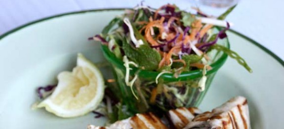 Grilled Yellowtail with Oriental Coleslaw