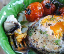 Baked Brown mushroom breakfast surprise