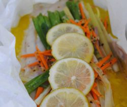 Fish with Ginger, Lemon Grass and Spring Onion En Papillote
