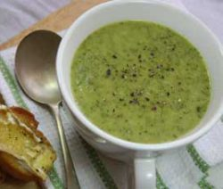 Courgette and Watercress Soup with Brie Toast