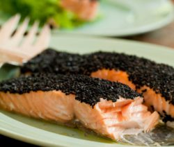Oven-baked Salmon Rolled in Black Sesame Seeds