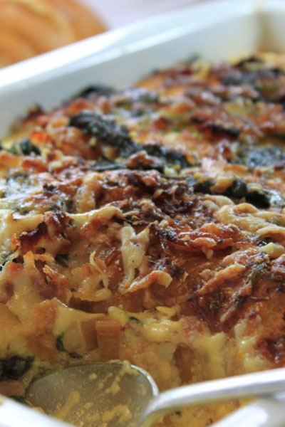 Cheesy Valentine's Day Bacon, Spinach and Gruyére 'Bread Pudding'