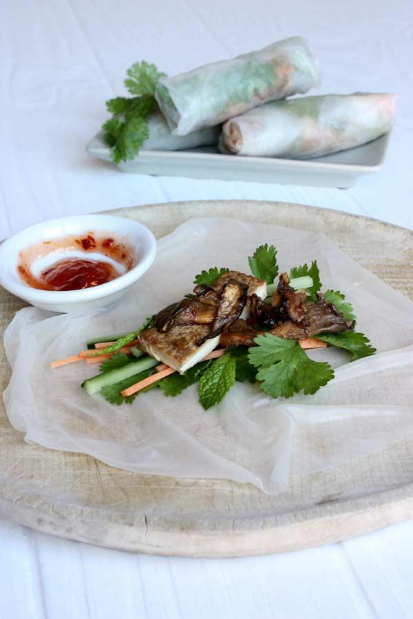 Vietnamese Tofu, Shiitake and Coriander Rice Paper Wraps