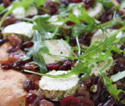 Caramelised Red Onions, Cranberry and Goat's Cheese Flat Bread