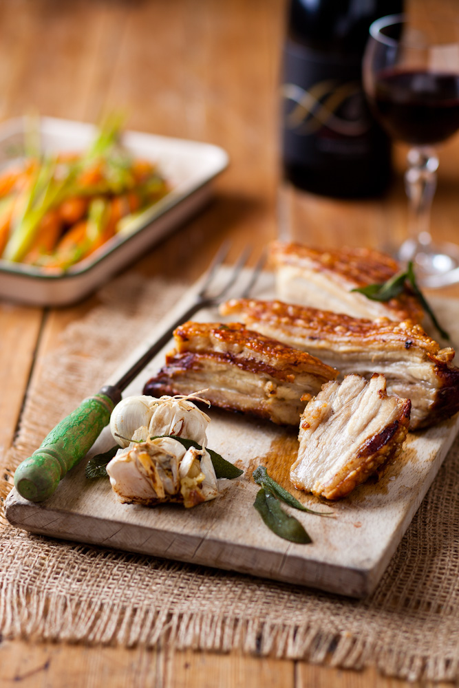 SLOW-ROAST PORK BELLY WITH SAGE AND CRACKLING