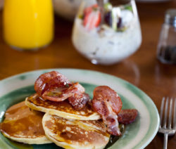 Buttermilk Crumpets with Crispy Bacon and Maple Syrup