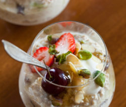 Bircher Muesli with Toasted Almonds, Pistachios and Seasonal Berries