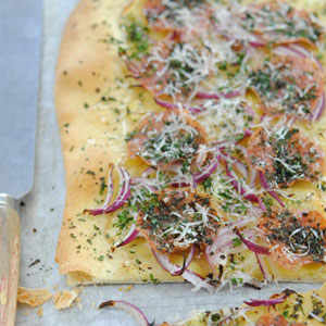 POTATO, PARSLEY, CHORIZO AND RED ONION PIZZA