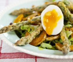 Deep-fried Asparagus Salad with Butternut Crisps