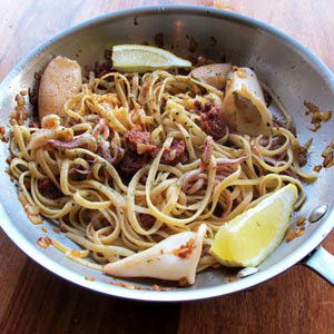 Linguine with chorizo calamari
