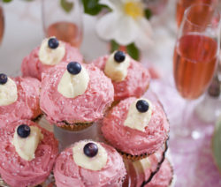 Pongrácz Cupcakes with Rasp-berry Frosting and White Chocolate Ganache with Sparkling Sugar