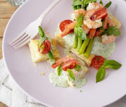 Prawn, Asparagus and Tomato Tarts with a Watercress Sauce