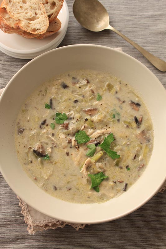 Creamy Chicken Mushroom And Leek Soup