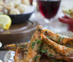 Spanish-spiced and Beer-marinated Prawns with Chorizo