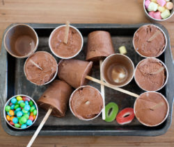 Chocolate Lollies served with candy