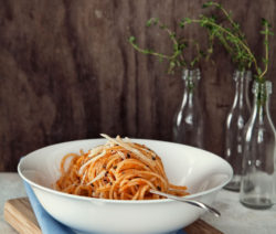 Spaghetti served with traditional red sauce