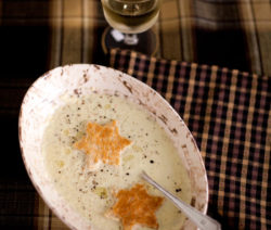 Roasted Cauliflower Soup served with Star Croutes