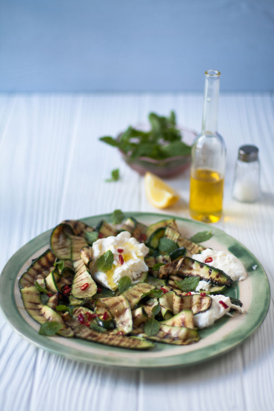 Grilled Courgette, Mint and Burrata Salad