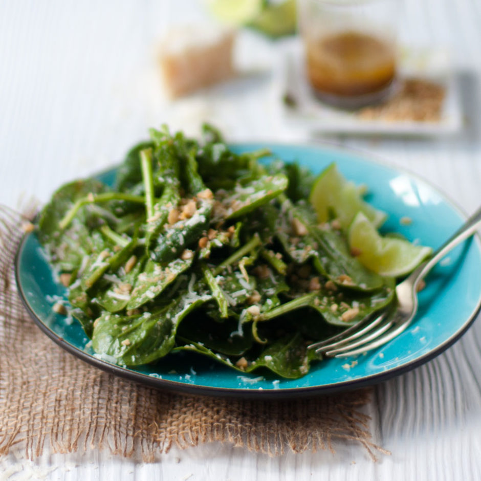 Crisp baby leaf spinach with a Truffle, Parmesan and Soy Dressing