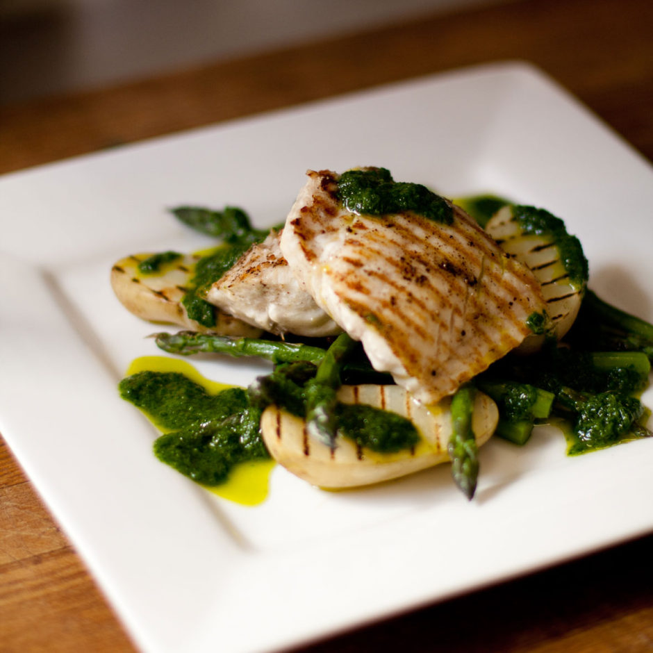 Angelfish with Grilled Asparagus and Roasted Garlic & Parsley Dressing