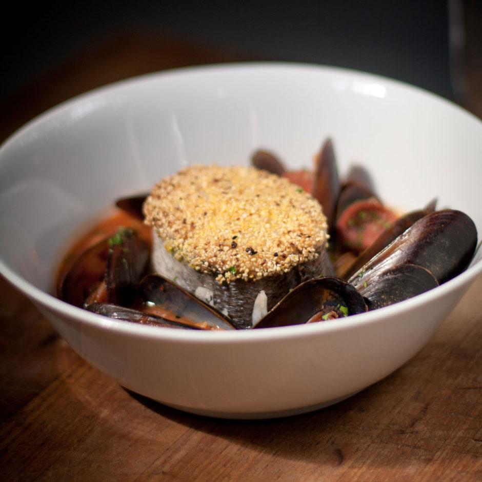 polenta crusted hake mussels chorizo crush magazine