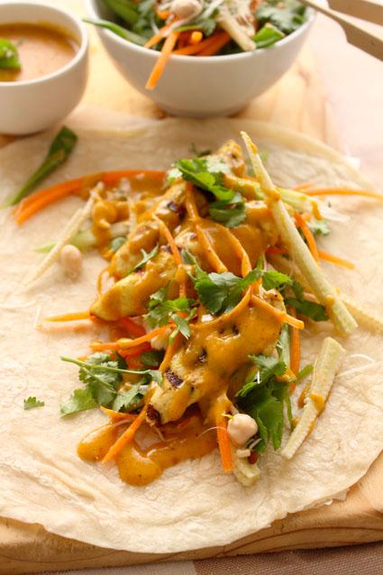 Satay Chicken Wraps