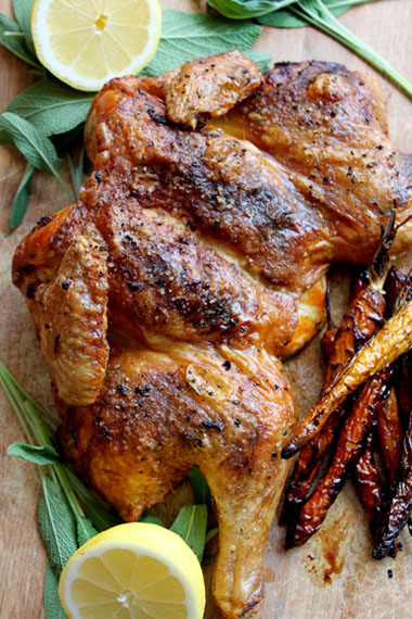 Lemon and Sage Flat-Roast Chicken