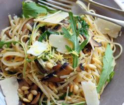 Linguini with Garlic Mushrooms, Rocket and Pine Nuts
