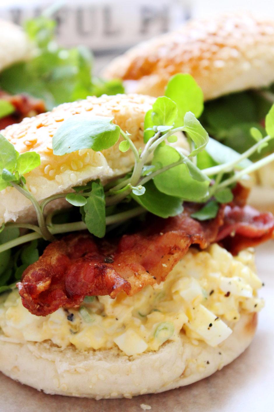 Egg Mayo, Crispy Bacon and Watercress Baps