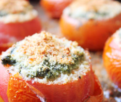 Roasted Tomatoes Stuffed with Spinach and Feta