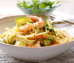 Spaghetti with Garlic and Lemon Prawns and Courgettes