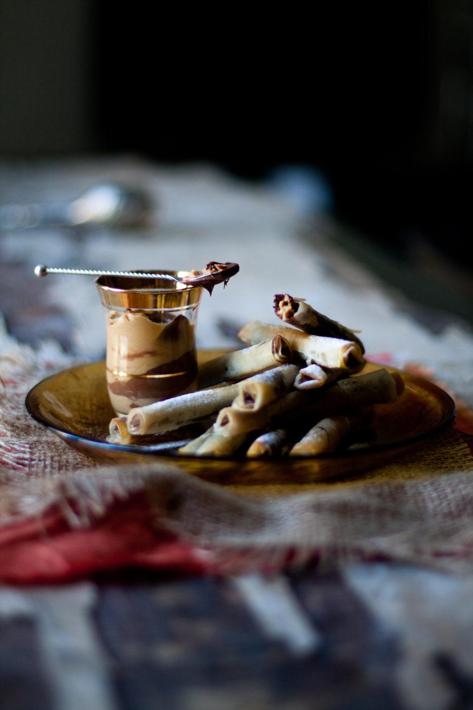 Chocolate, Peanut Butter and Hazelnut Phyllo Cigars