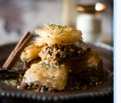 Pistachio and Almond Baklava with Elderflower Syrup
