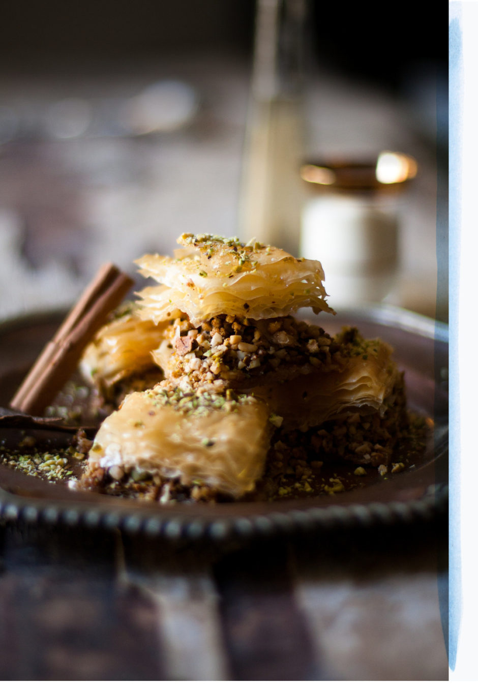 Pistachio & Almond Baklava with Elderflower Syrup. Rich, sweet and simply delicious!