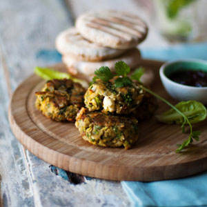 chickpea and courgette burgers