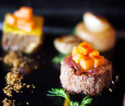 Duo of Organic Beef with Potato Fondant, Apricot Purée, Caramelised Onion and Cumin Jus
