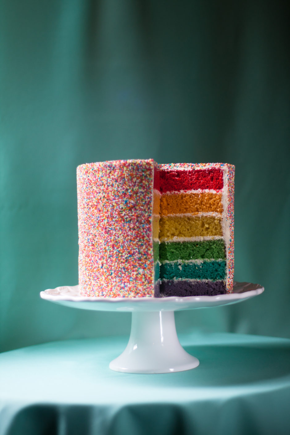 The Ultimate Rainbow Sprinkle Cake