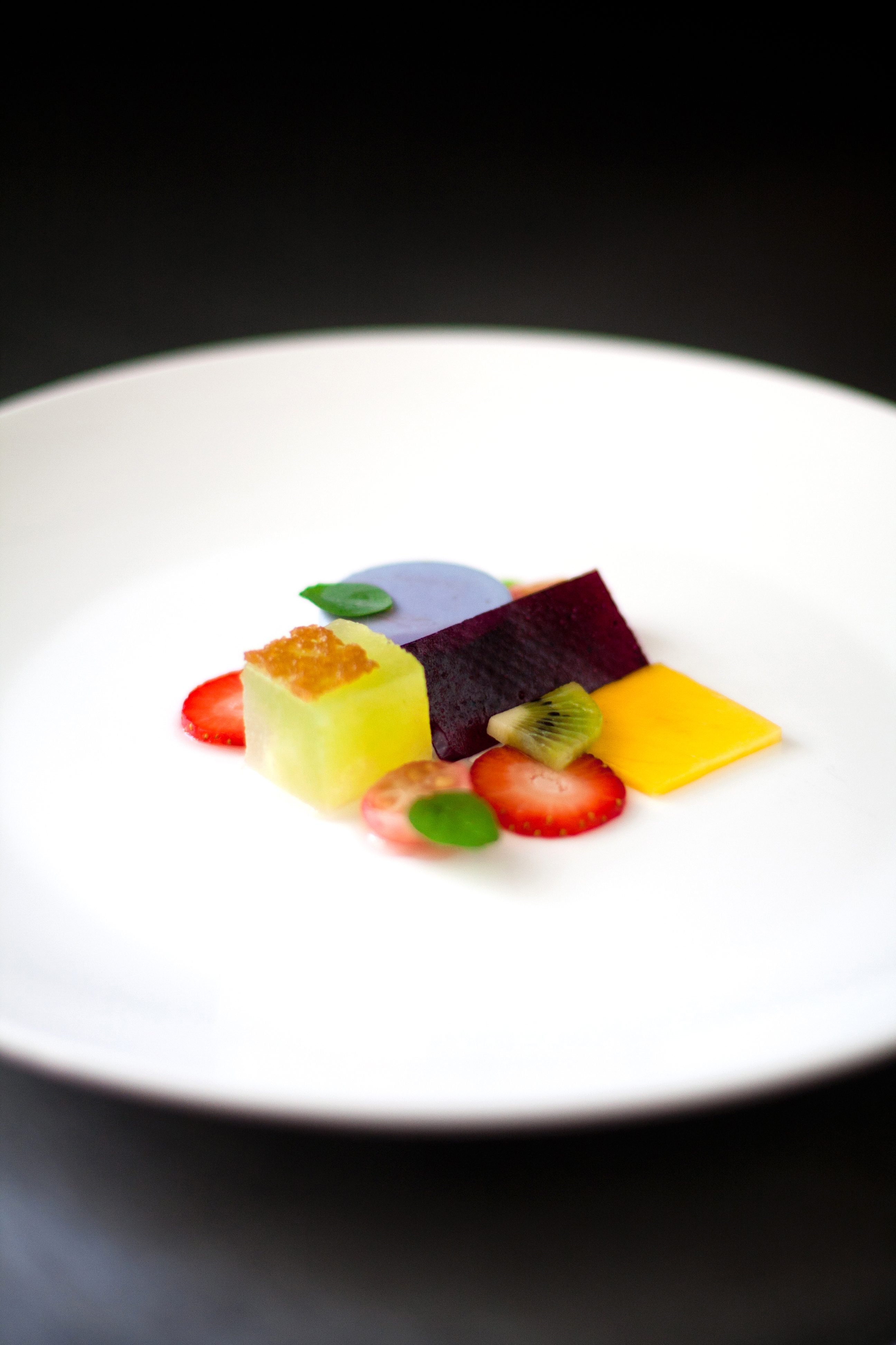 Fruit Salad With Panna Cotta And Blueberry Leather