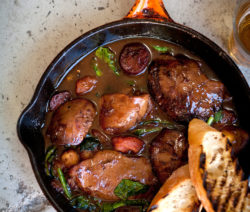 Sauté of Duck livers, Chorizo, Butterbeans, Tomato, Garlic, Lemon & Parsley