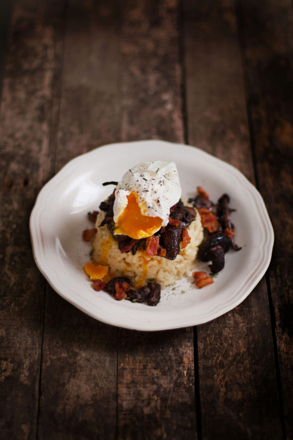 Mushroom & Bacon Risotto with a Poached Egg
