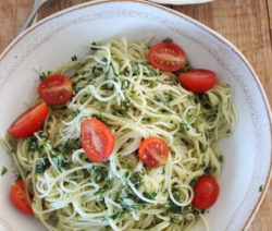 Capellini Pasta with Salsa Verde and Ripe Tomatoes
