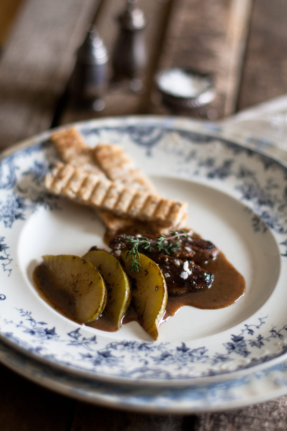 Seared Duck Liver with Pear & Port Sauce