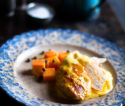 Chicken Breast with Lemon Butter and Papaya
