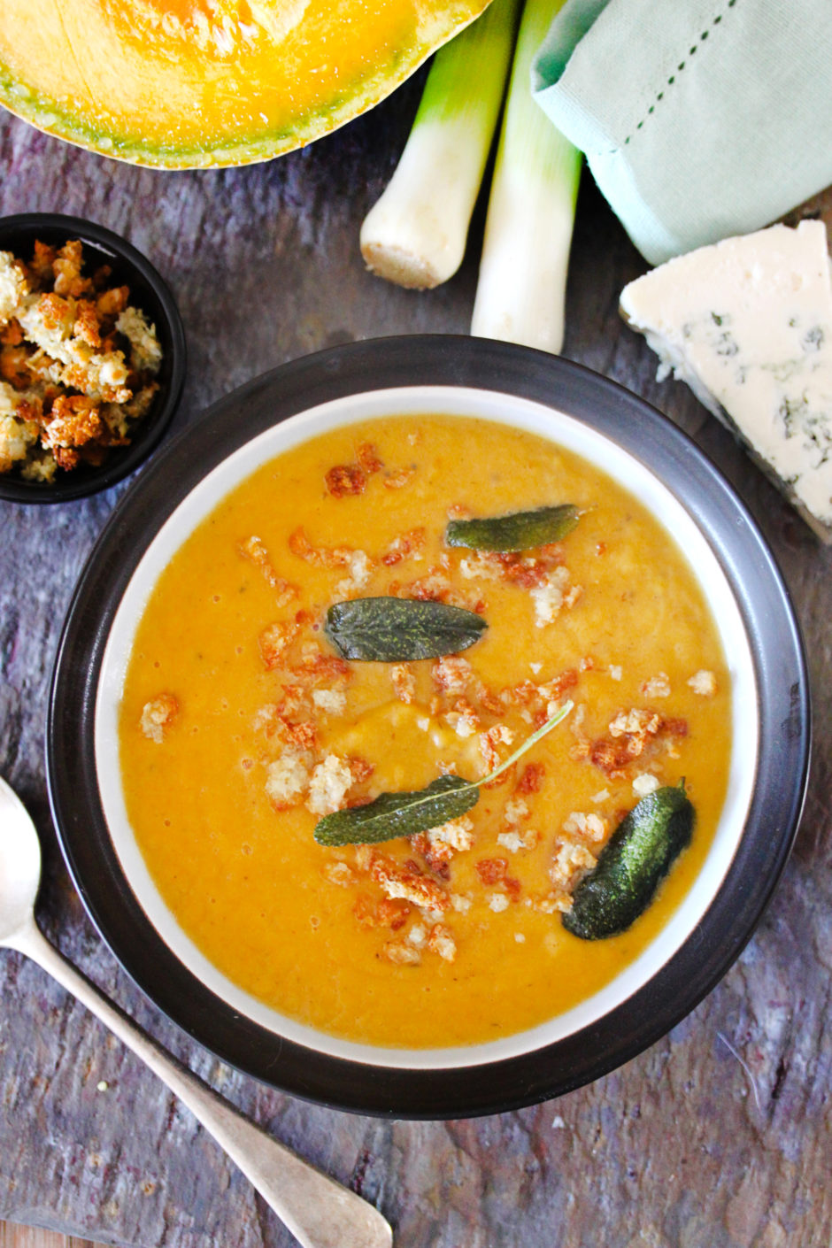 Thick Pumpkin Soup with Sage and Blue Cheese Crumbs Recipe