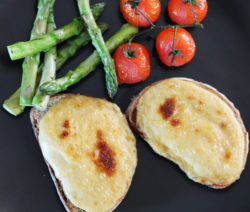 Welsh Rarebit with Grilled Asparagus and Roasted Tomatoes Recipe