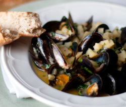 West Coast Mussels with Apple and Cider