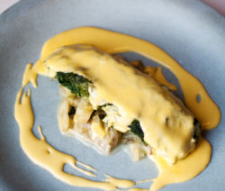 Hake Steamed in Swiss Chard with Braised Chard Stalks & Hollandaise Sauce Recipe