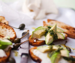 Goat's Cheese Crostini with Salsa Verde Drizzle