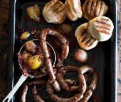Venison Sausage with Tipsy Onions