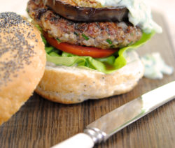 Greek Lamb Burger with Grilled Aubergine, Hummus and Tzatziki